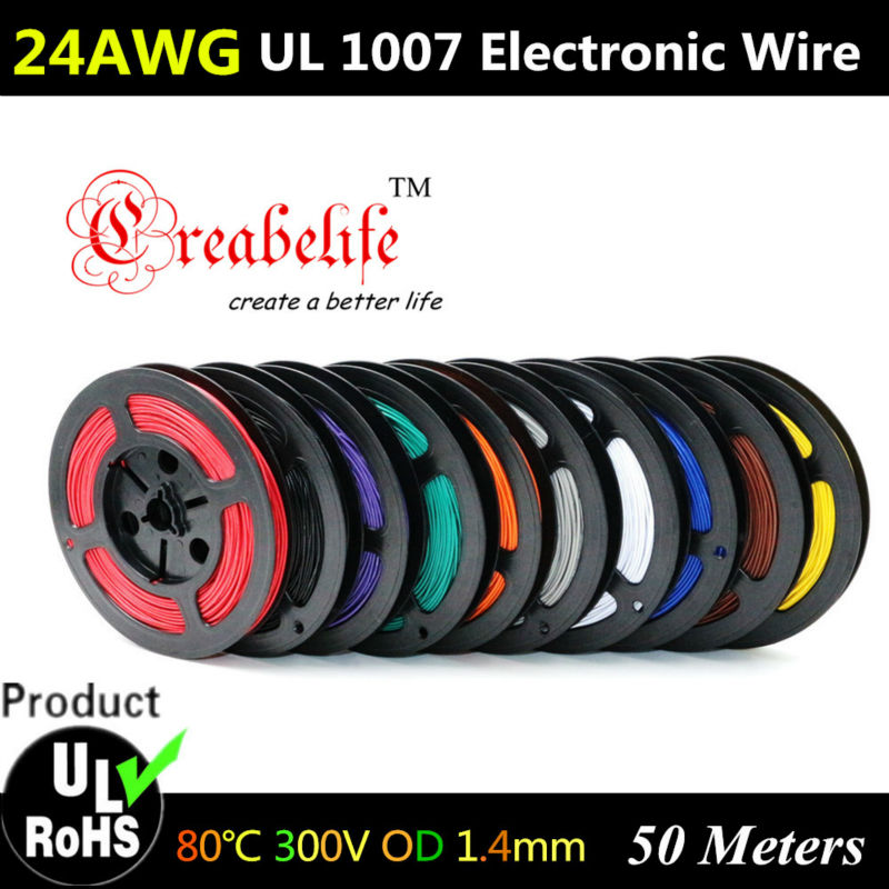 50 Meters/roll 24 AWG - Flexible Stranded 10 Colors UL 1007 Diameter 1.4mm Electronic Wire Conductor To DIY