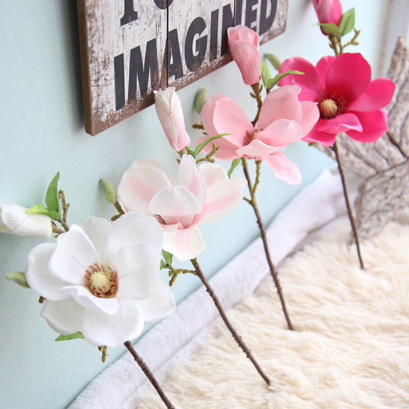 2018 hot sale on Artificial Fake Flowers Leaf Magnolia Floral Wedding Bouquet Party Home Decor gift wholesale