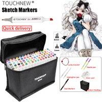 TOUCHNEW 30 40 60 80 168Colors Pen Marker Set Dual Head Sketch Markers Brush Pen For