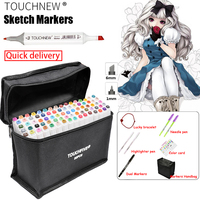 TOUCHNEW 30 40 60 80 168Colors Pen Marker Set Dual Head Sketch Markers Brush Pen For