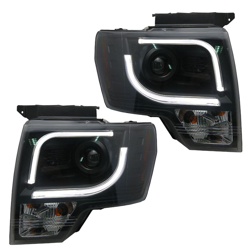 for Ford Raptor F150 Bi-xenon Headlights with led bar light Black Housing fit 2008-2014 year cars