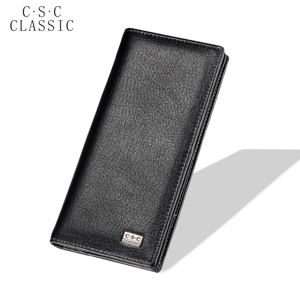 2016 New Brand Mens Womens Black Cowhide Real Genuine Leather Long Wallet Purse Checkbook Credit Card Slots ID Zipper Pocket