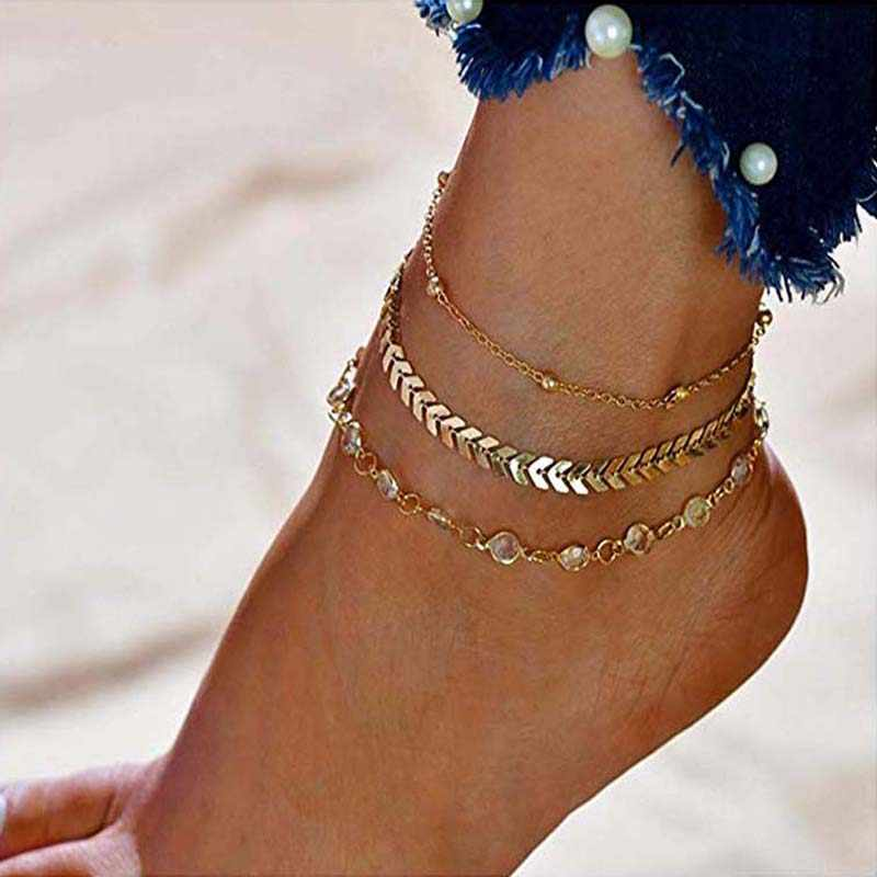Fashion Crystal Anklet Barefoot Vintage Handmade Multi-layer Ankle Bracelet Chain For Women Party Summer Beach Foot Accessories