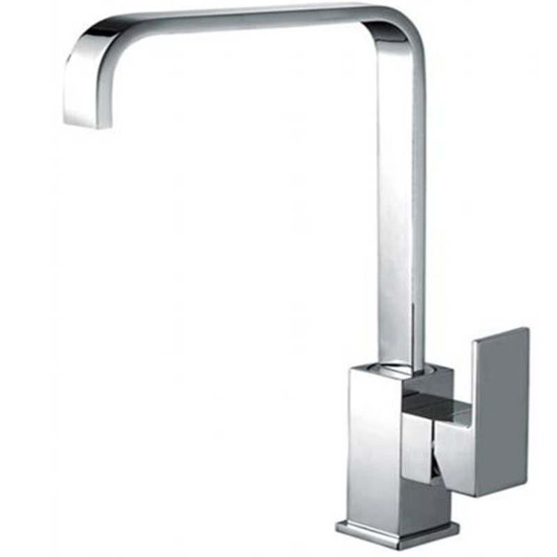 Xueqin Modern Chrome Solid Brass Kitchen Sink Mixer Tap Square Single Lever Faucet 360 Rotation Fast
