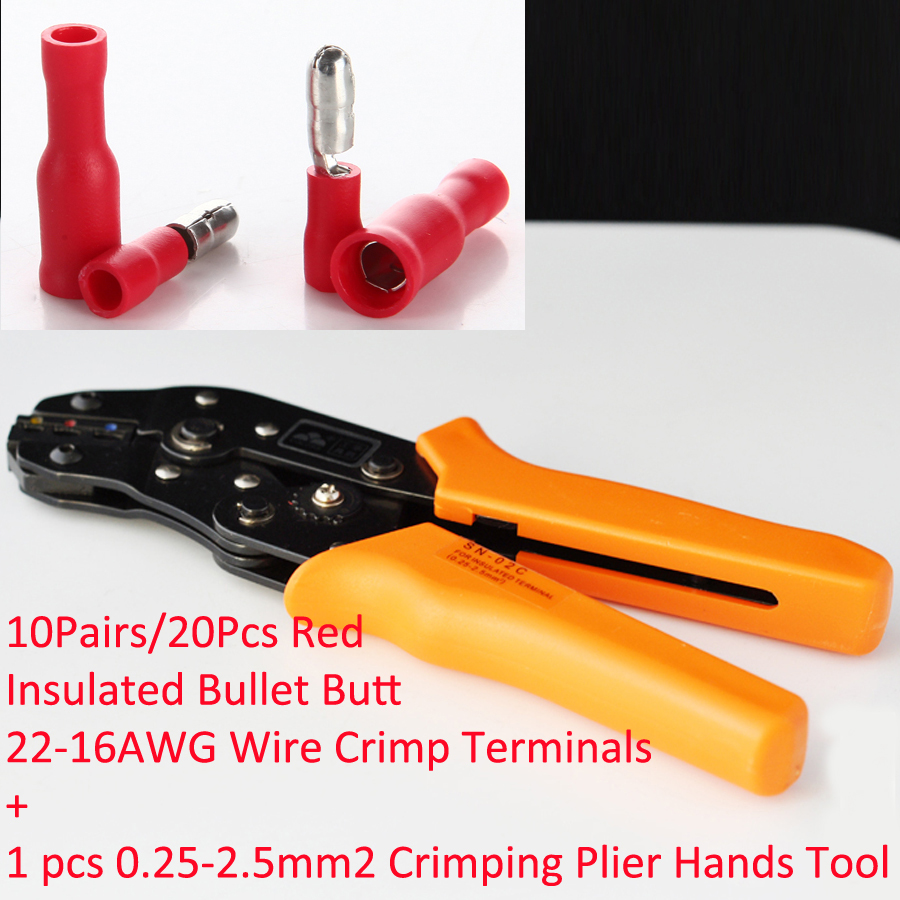 1pcs SN-02C in 0.25-2.5mm2 Crimping Plier Hands Tool with 10Pairs/20Pcs Red Insulated Bullet Butt 22-16AWG Wire Crimp Terminals pro skit 8pk 313b 5 in 1 wire bolt cutter crimping stripping tool yellow black