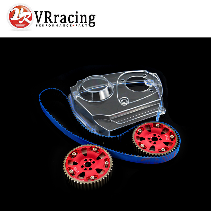 VR RACING - HNBR Racing Timing Belt + Aluminum Cam Gear + Clear Cam Cover For NISSAN Skyline R32 R33 GTS RB25DET frp fiber glass car styling hood bonnet lip chin valance fin add on tuning parts for nissan skyline r32 gtr gts