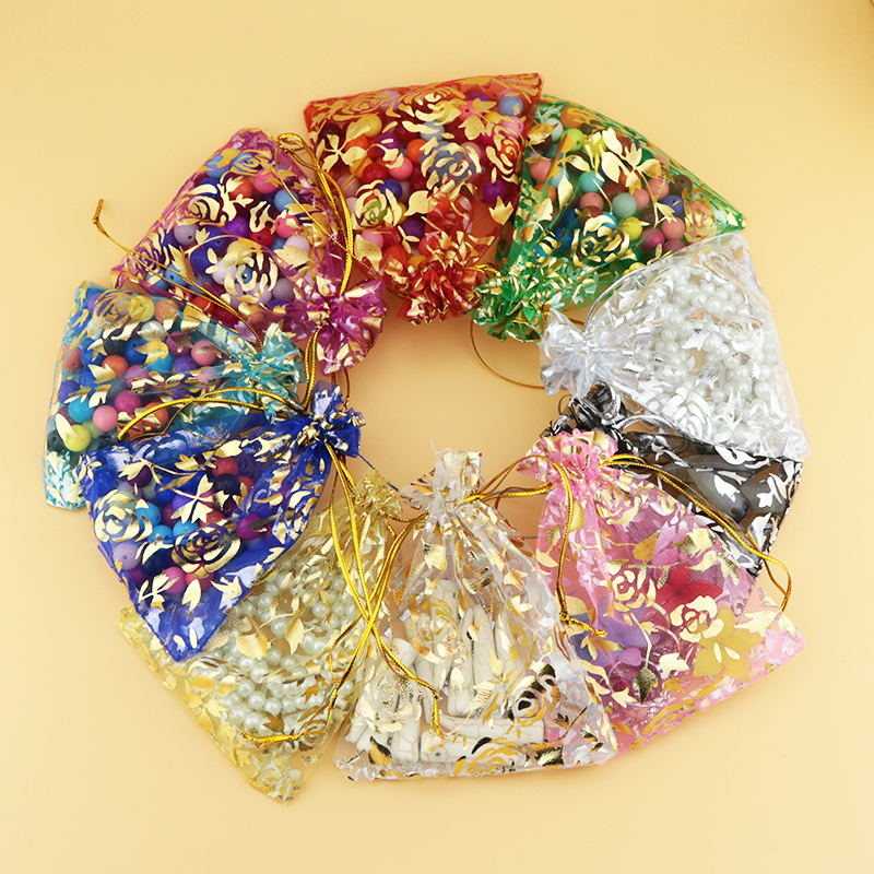 Custom Jewelry Pouch Gift Bags Wholesale 1000pcs/lot Small Organza Bag With Gold Rose Printing 9*12cm Drawstring Tull Gift Pouch-in Jewelry Packaging & Display from Jewelry & Accessories    1