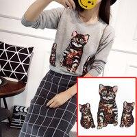 7 cái đặt vương miện mèo và sao sequined vá cho ăn mặc, diy may phụ kiện trang trí sequins thêu bản vá lỗi đính