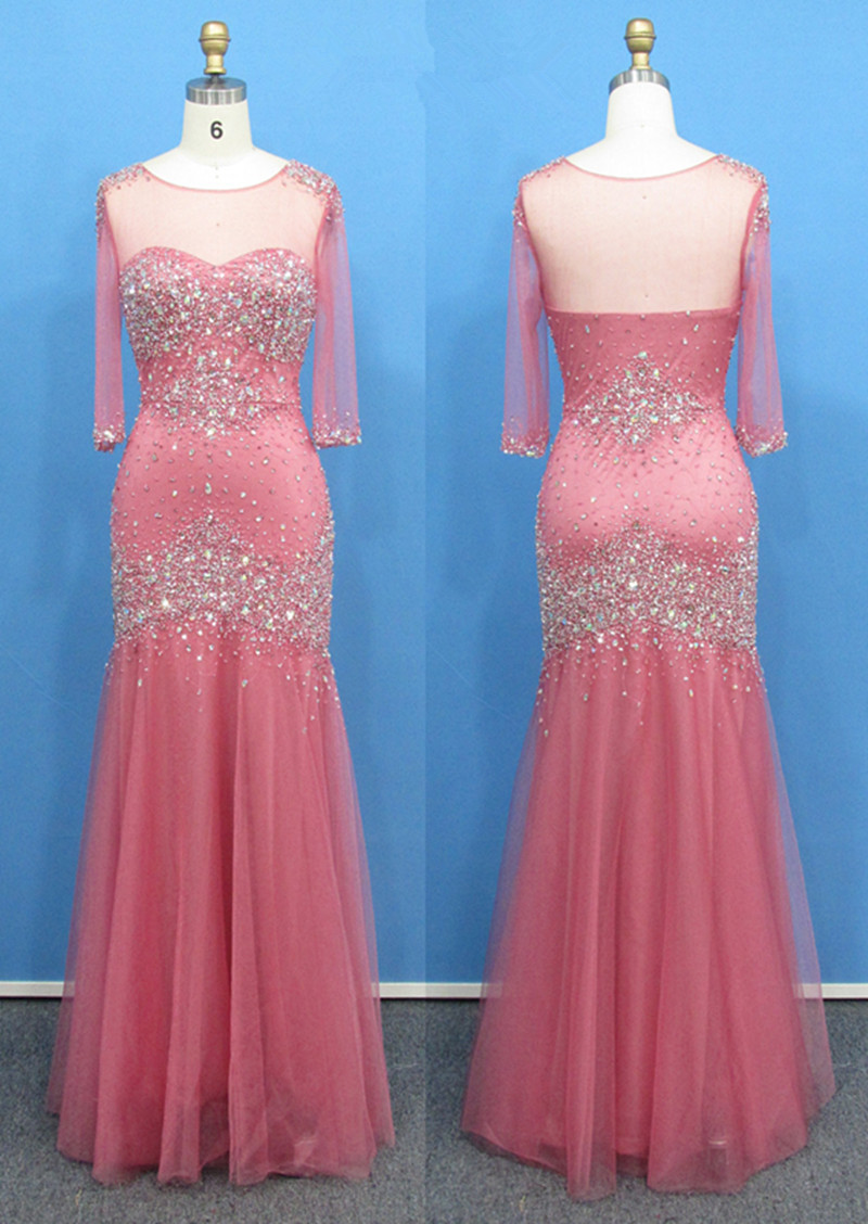 Women Special Occasion Dress Sheer Top Pink Tulle Long Mermaid ...