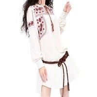 Spring Autumn Women Dress Vintage Cotton Linen Dresses Embroidery Long Sleeve Loose White Shirt Dress Plus