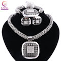 Women 2016 hot sale silver plated jewelry sets with earrings boho crystal statement necklace for wedding party Trendy necklace