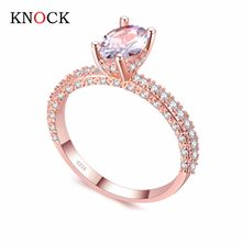 KNOCK high quality Rose Gold row White gold For Women Fashion Cubic Zirconia Wedding Engagement ring(China)