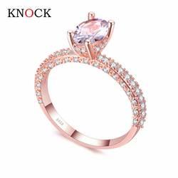 KNOCK высокое качество розовое золото ряд белого золота для женщин Модный кубический цирконий Свадебные обручение кольцо