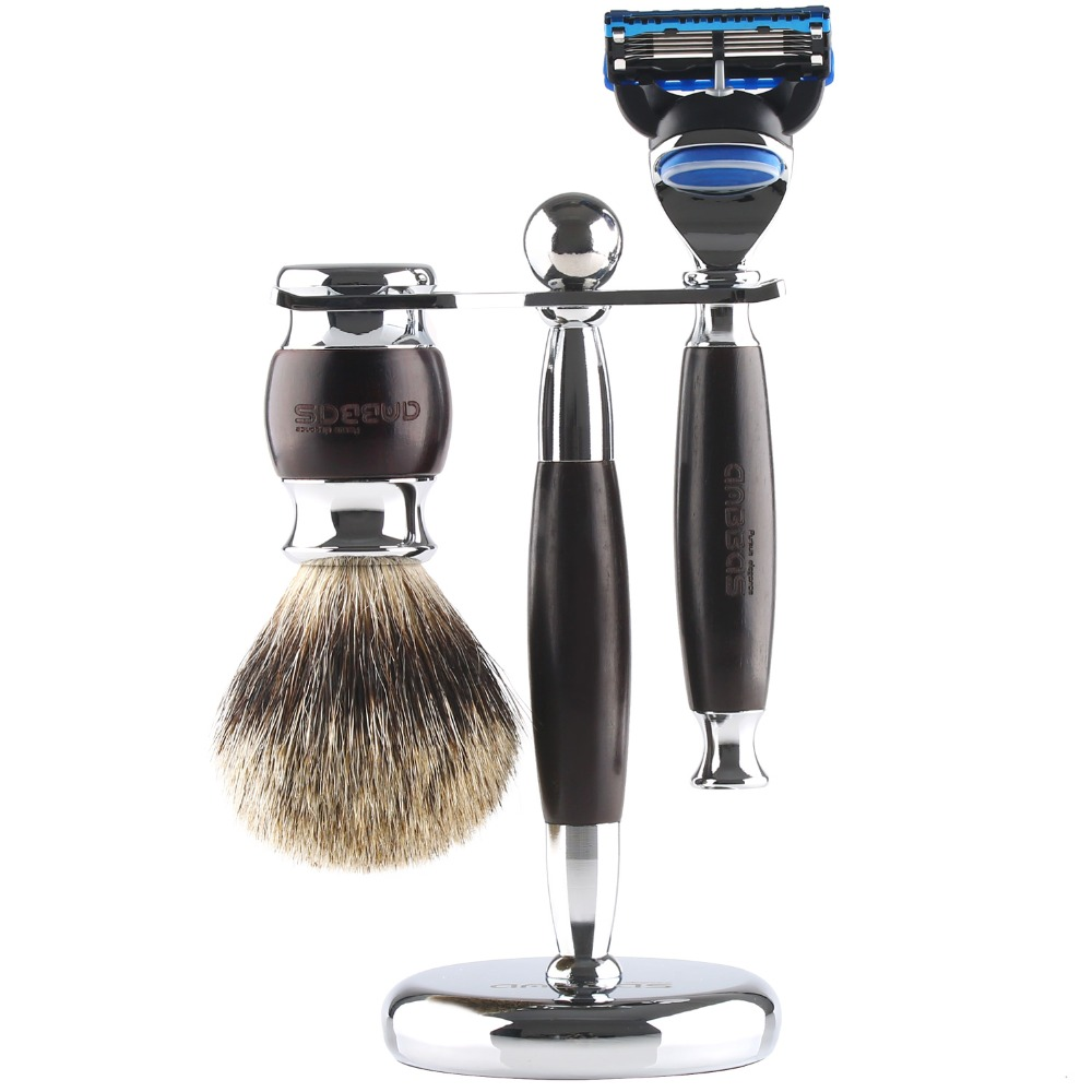 Anbbas 3pcs Wet Shaving Set with Pure Badger Hair Shaving Brush and Alloy with Solid Ebony Wood Razor and Stand Holder dscosmetic shaving brush set with badger hair shaving brush safety shaving razor and shaving brush holder stand