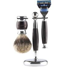 Anbbas 3 unids wet shaving set con pelo de tejón puro Brochas de afeitar y aleación con Solid ébano Maquinillas de afeitar y soporte titular