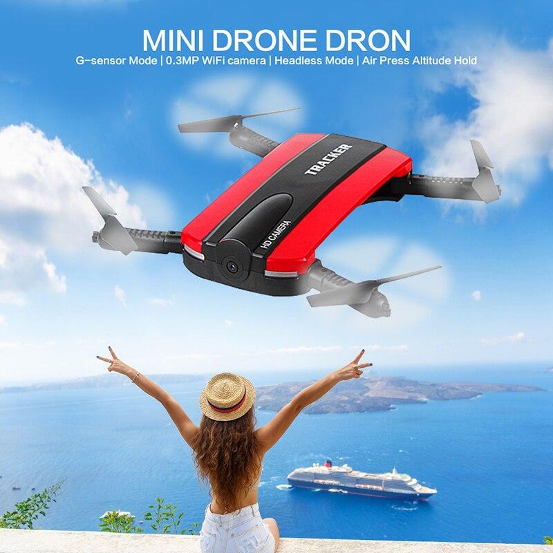 Plegable Selfie Drone Dron Tracker teléfono Control Mini Drones con Wifi FPV HD Cámara helicóptero JXD 523 523 W VS JJRC H37