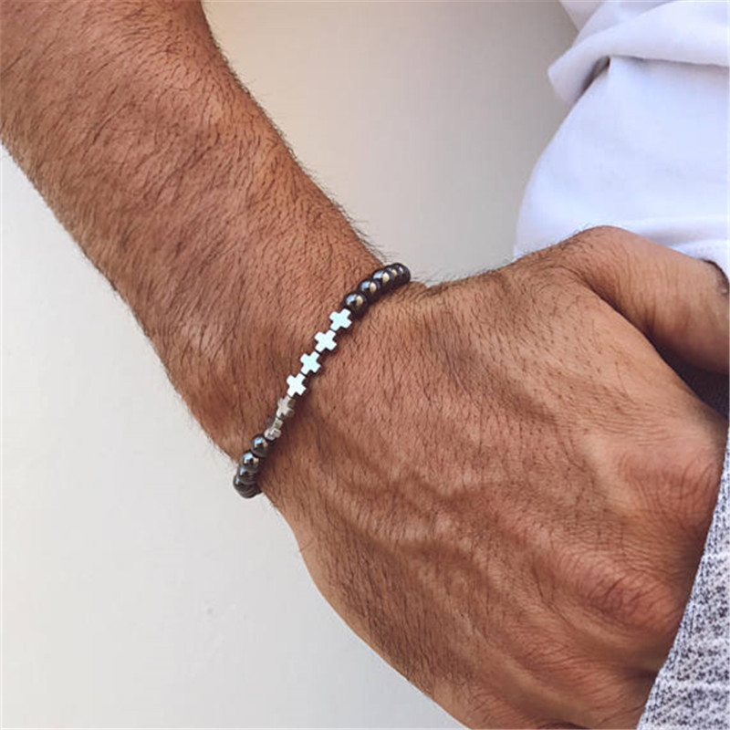 Fashion Bead Bracelets Men 2018 New Cross 6mm