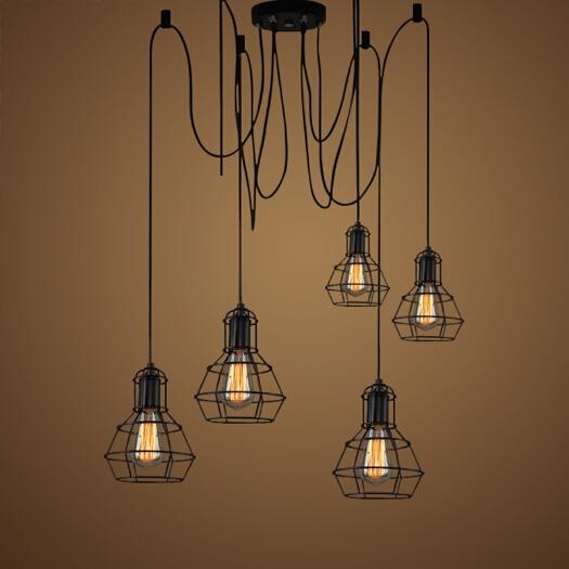 vintage pulley pendant lamp loft design style lights dining lampara edison light fixtures Mordern Nordic retro light Spider lamp