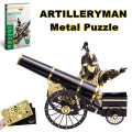 2016 New Piececool 3D Metal Puzzle of Artilleryman 3D Metal Model 3D Jigsaws from 3d Laser Cut Metal Sheets for Kids DIY Toys