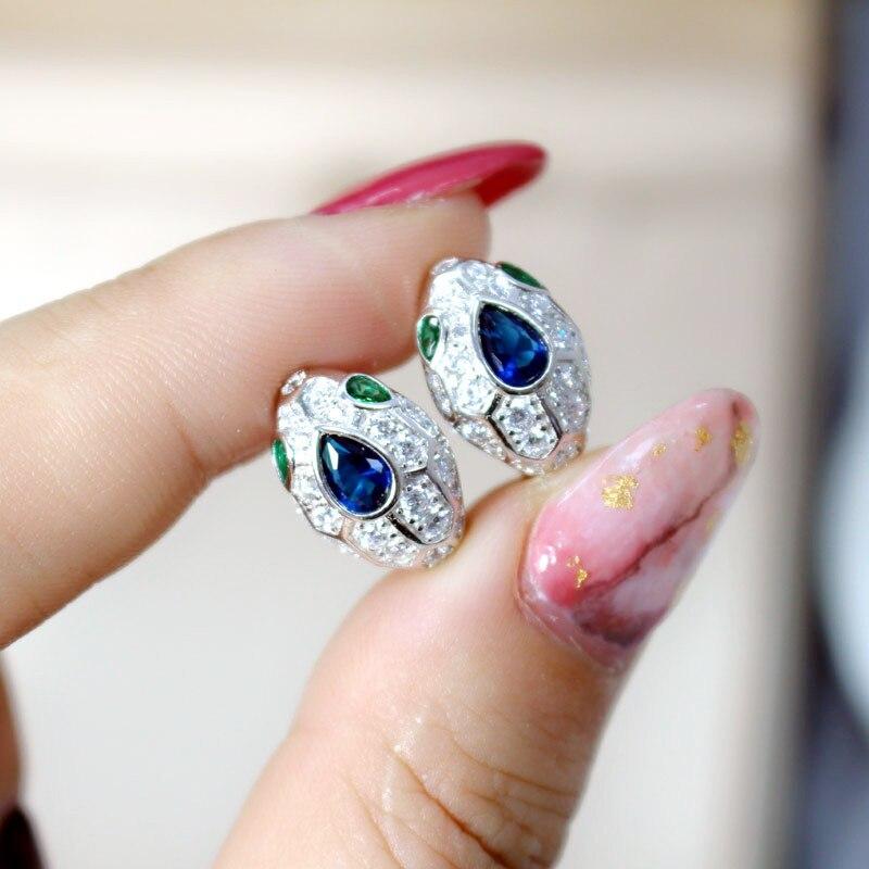 2019 nouveauté créateur de mode mousseux serpent Dangle boucles d'oreilles pur 925 en argent Sterling Bijoux à la mode