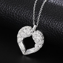 Exquisite Heart Shaped Neckalce Pave Crystal Bijoux For Women Fashion Bridal Wedding Engagement Promise Jewelry(China)