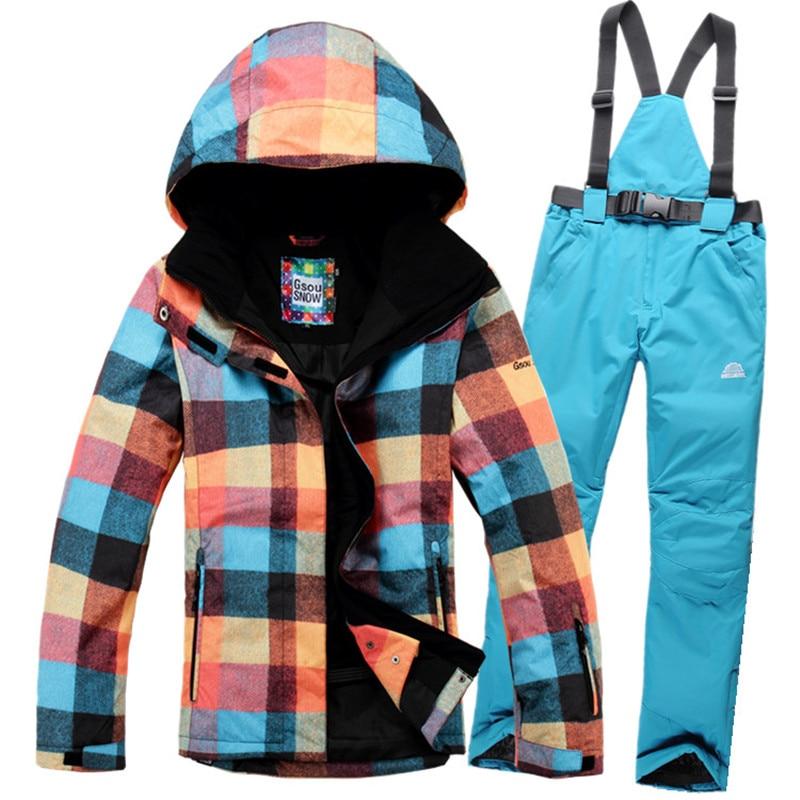 2016 women's winter ski jackets windproof waterproof ski suit warm-keeping windbreaker jacket +Ski pants Outdoor sportswear free