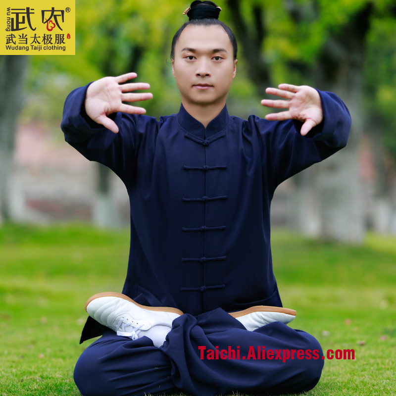Wudang  Handmade Custom Linen Clothing Male Tai Chi Uniform Wushu Kung Fu martial Art shaolin Training Suit painted handmade linen tai chi uniform taijiquan female clothing summer short sleeved wushu kung fu jacket pants