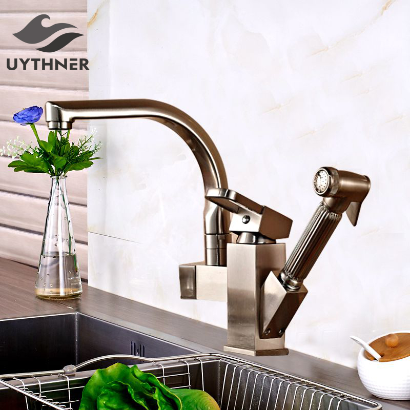 Uythner Brushed Nickle Dual Spout Pull Out Kitchen Faucets Deck Mounted Shower Sprayer Kitchen Taps with