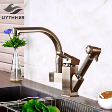 Uythner Luxury Pull Out Brushed Nickle Finish Kitchen Faucet Mixer Single Hole Deck Mounted
