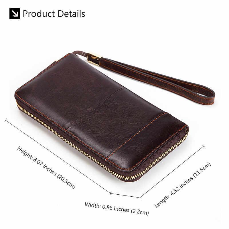 Мужской деловой Длинный кошелек, повседневный клатч из натуральной кожи, мужской кошелек на молнии, длинный держатель для карт, кошелек