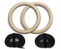 Rhythmic Gymnastics Ring Wood Rings 28mm Exercise Fitness Gym Crossfit Strength Training With Buckles Straps 2