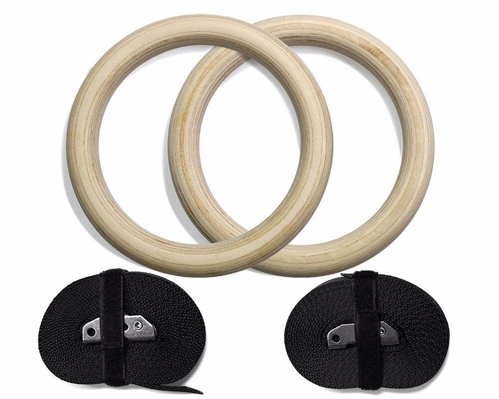 Rythmique Gymnastique Anneau Bois Anneaux 28mm Exercice Fitness Gym crossfit musculation avec Boucles Sangles 2 pcs