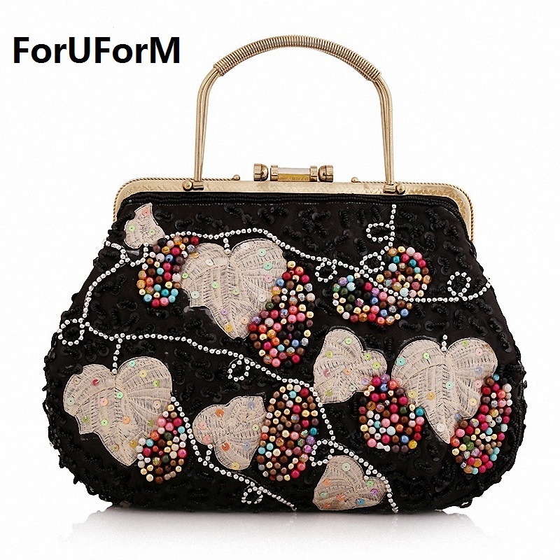 2017 Hot Style Women Day Clutch Handmade Beads Diamond Wedding Party Handbag Evening Bag tote Multi-Style LI-1058 hot sale beads