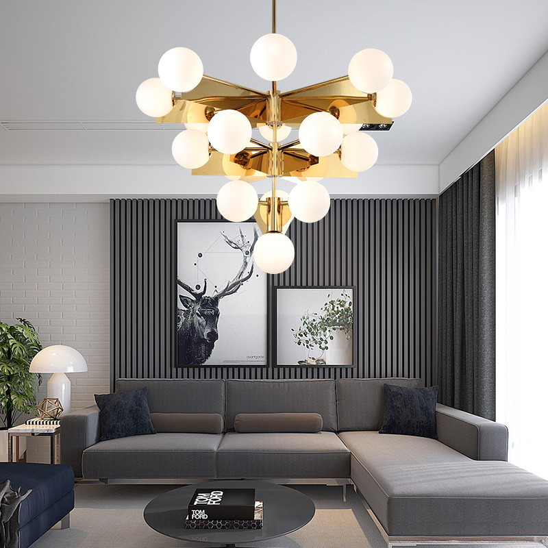 Nordic Magic Beans Chandelier Staircase Glass Ball LED Lamp Gold 10 18 Heads For Parlor Bedroom Art Hotel Home Pendant Lamp G883