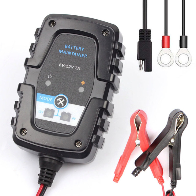 FOXSUR 6 V 12 V 1A אוטומטי חכם סוללה מטען מתחזק עבור מכונית אופנוע קטנוע סוללה מטען עם SAE מהיר מחבר