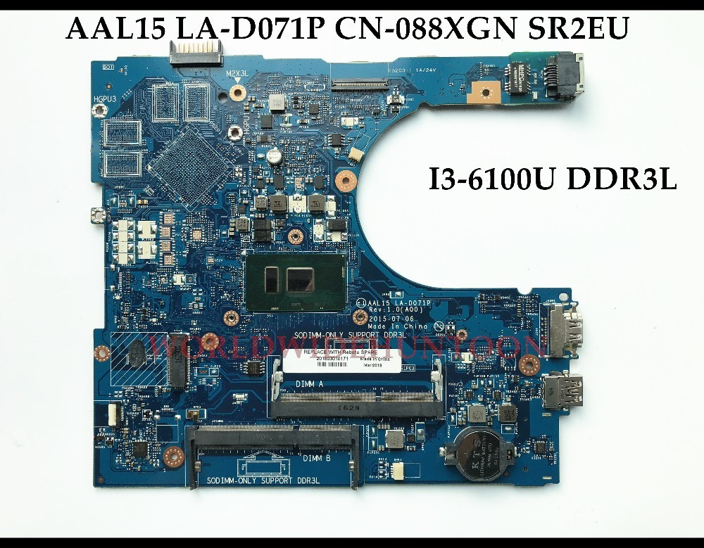 US $139 5 10% OFF|Wholesale CN 088XGN for Dell Inspiron 5559 Laptop  Motherboard AAL15 LA D071P SR2EU I3 6100U DDR3L 100% Fully Tested&High  quality-in