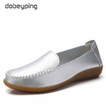 Casual Women's Shoes Genuine Leather Women Flats Moccasins Womens Loafers Shoe Walking Female Shoe New Mother Footwear dobeyping