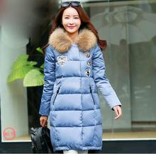 S-5XL Plus Size New Winter Women Down Jacket Long Thick Parkas Female big Fur Collar Hooded Fashion Warm white duck Coat T752