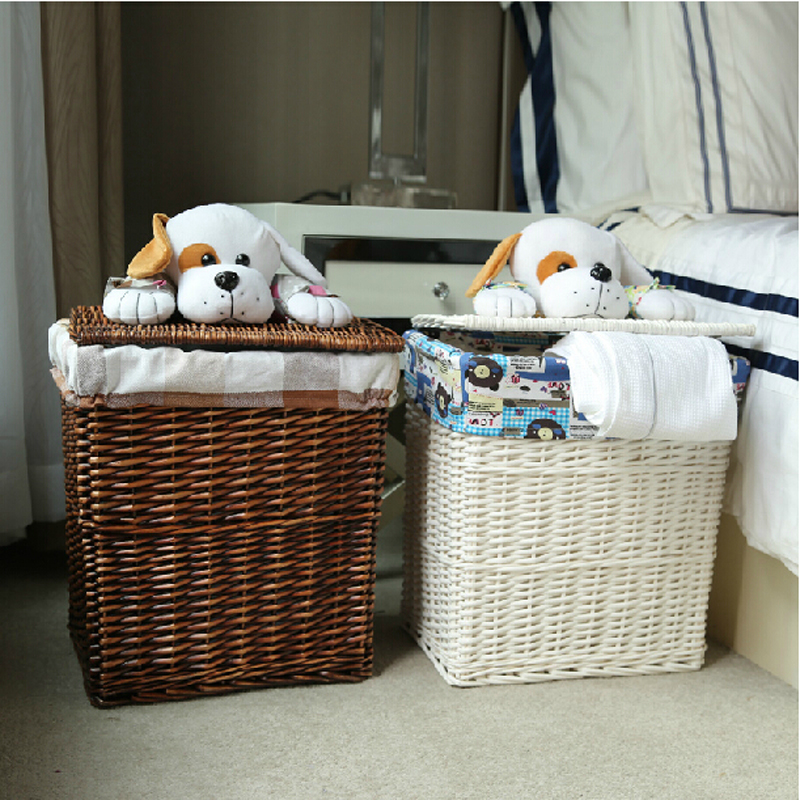 Large small dark brown dirty clothes wicker laundry basket with cute puppy lid white decorative - Hamper for dirty clothes ...