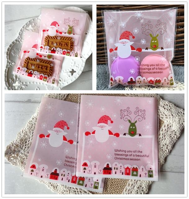 Us 0 89 10pcs Lot Plastic Christmas Cookies Bags Cartoon Deer Elk Santa Biscuits Candy Packaging Bags Home Xams Christmas Party Decors In Gift Bags