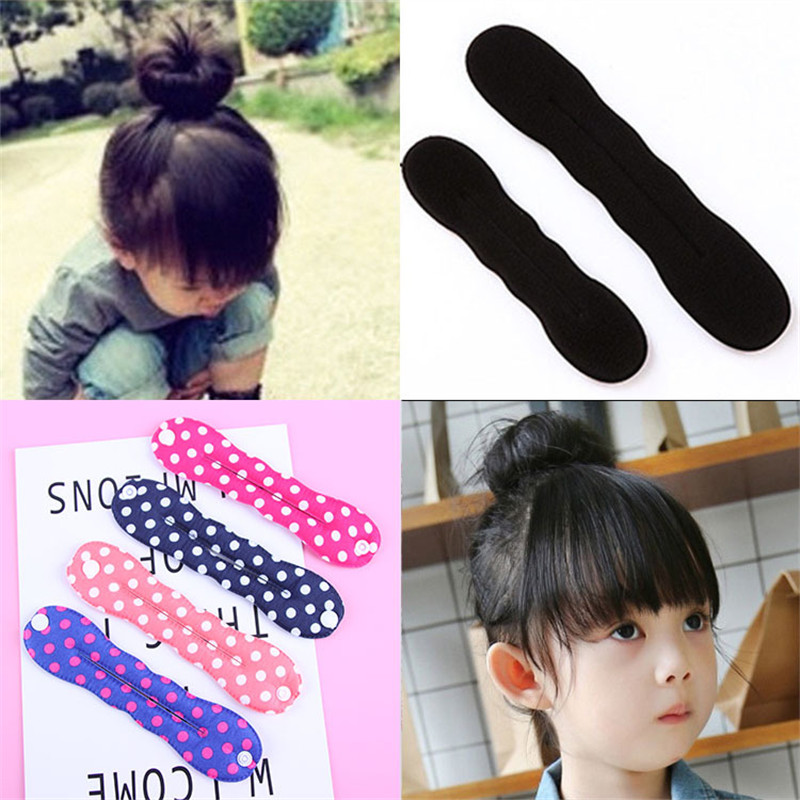 New Cute Girls Print Hair Bun Maker Tools Headbands Diy Hair Style   Headwear   French Magic Donut Hairbands Kids Hair Accessories