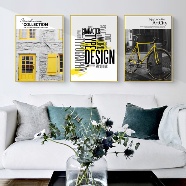 Nordic Photography Canvas Painting Bike Letter Wall Art