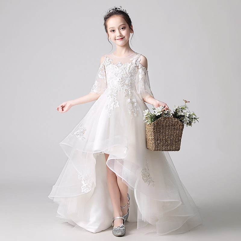 Flower Girl Shoulder Pink Wedding Dress Puffy Short Dress Girls Campus Graduation Party Bead Dresses at