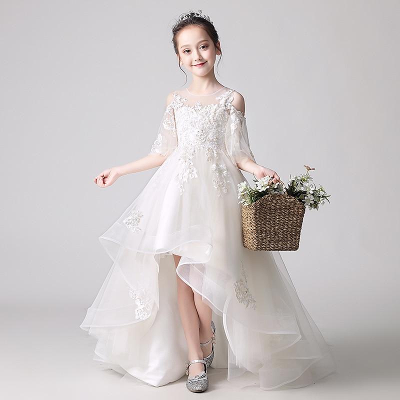 Flower Girl Shoulder Pink Wedding Dress Puffy Short Dress
