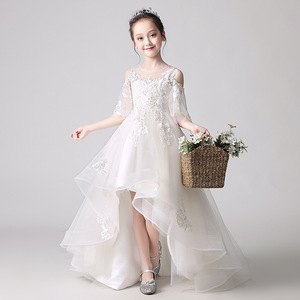 Flower Girl Shoulder Pink Wedding Dress Puffy Short Dress Girls'Campus Graduation Party Bead Dresses at the End of the Eucharist(China)