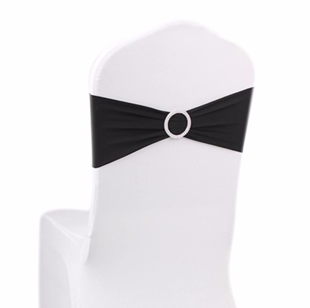 10 Pieces Stretch Bulk Chairs Covers Bands with Ring Buckle Wedding ...