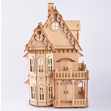 цены Laser Cut Model Puzzle Toys Gothic House 3D Wooden Jigsaw Puzzle Kids Wood Scale Models House Puzzle Toy Gift For Kids Children