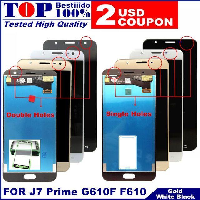 LCD استبدال كامل محول الأرقام لسامسونج غالاكسي J7 رئيس G610 G610F On7 2016 G6100 عرض تعمل باللمس الجمعية ثقوب مزدوجة