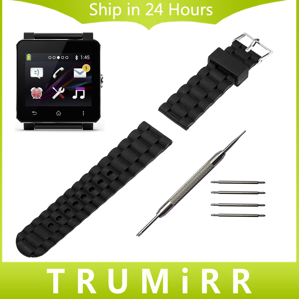 24mm Silicone Rubber Watchband for Sony Smartwatch 2 SW2 Replacement Band Wrist Strap Bracelet with Stainless Steel Buckle Black 2016 silicone rubber watch band for samsung galaxy gear s2 sm r720 replacement smartwatch bands strap bracelet with patterns