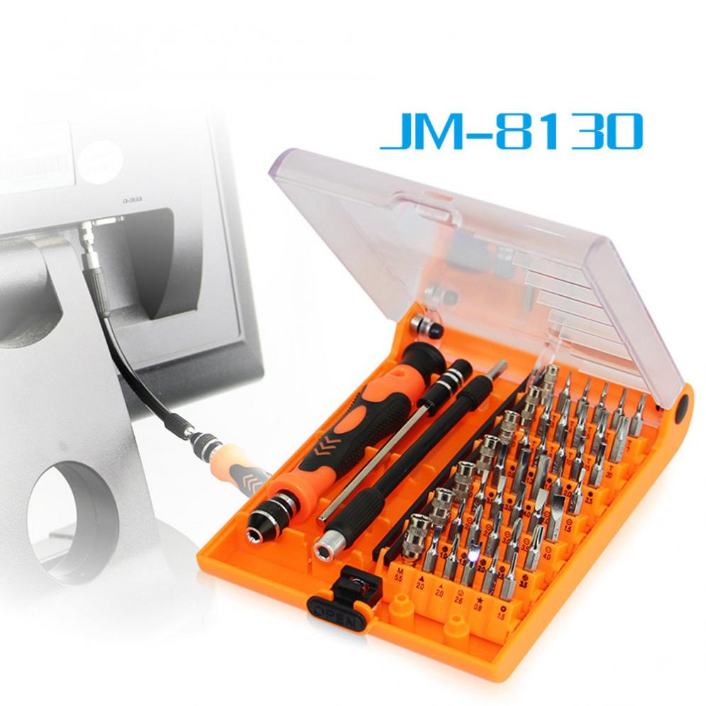 цена на Jakemy JM-8130 Interchangeable Magnetic Precision 45 In 1 Screwdriver Set Of Repair Tools for iPhone iPad PC